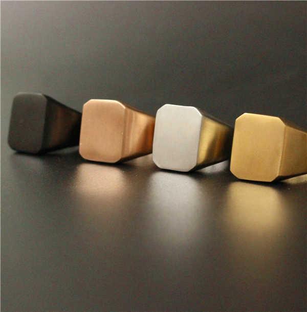 حجم 7 إلى 13 وصول جديدة أسلوب بسيط مربع حلقة 316l الفولاذ الصلب النساء السيدات تلميع مملة مربع خاتم كوكتيل