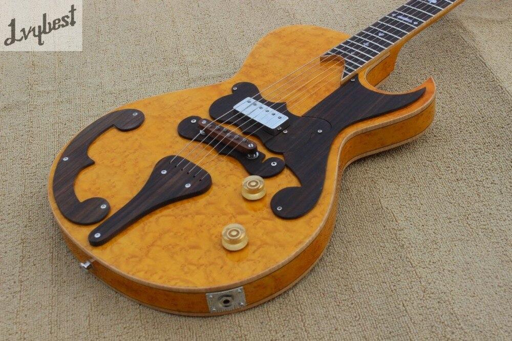 Guitare électrique couleur naturelle oeil d'oiseau haut et arrière flamme, queue de palissandre et pont et pickguard, logo personnalisé et poupée - 2