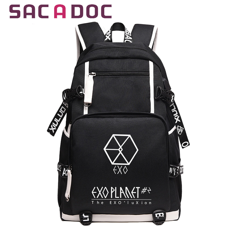 New Arrival Exo Laser Backpack Korean Canvas Backpack Teenage Girls Fashion Exo Bags Harajuku Backpack Rucksacks For School Men's Bags