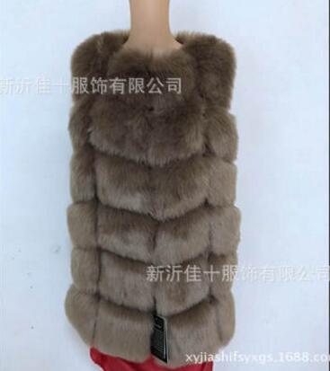 Новое поступление, зимний теплый модный длинный женский жилет из искусственного меха, пальто из искусственного меха, жилет из лисьего меха, женский жилет, большие размеры, S-4XL - Цвет: Dark camel