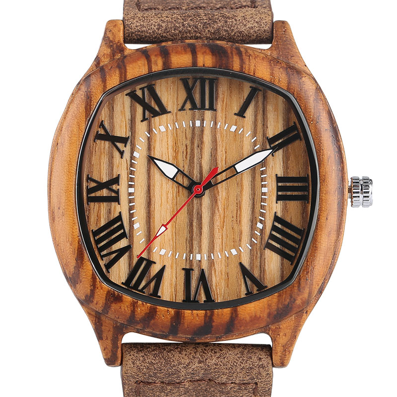 YISUYA Elegant Mens Wood Watches Top Brand Irregular Round Natural Bamboo Genuine Leather Quartz-watch Male Sports Gift 2017 classic style natural bamboo wood watches analog ladies womens quartz watch simple genuine leather relojes mujer marca de lujo