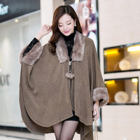 Cape Coat Knit Cardigan Jacket Sweater Women Oversized Coats Poncho Plus Size Long Overcoat Fur Collar