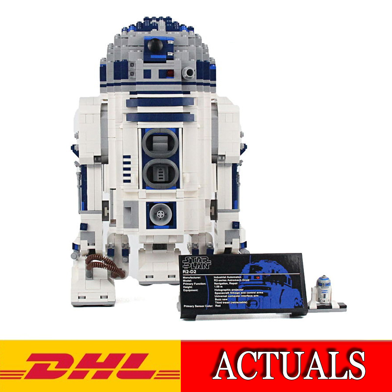 2018 New 2127Pcs Star War Series The R2-D2 Robot Model Building Kits Blocks Bricks Compatible Children Toys Gift 10225 2015 high quality spaceship building blocks compatible with lego star war ship fighter scale model bricks toys christmas gift