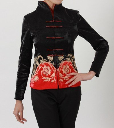 Vintage negro tradición china tang traje de ropa para mujer capa de la chaqueta