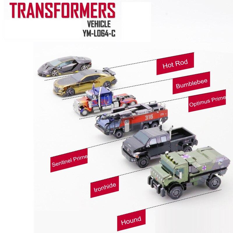 MU pojazdu OP pies Hot Rod Ironhide Sentinel Prime 3D Metal model zestawy DIY montażu układanka zabawki dla kontroli w Zestawy modelarskie od Zabawki i hobby na  Grupa 1
