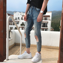 Summer New Jeans Men Stretch Slim Fashion Torn Hole Denim Pants Man Streetwear Trend Wild Hip-hop Tight Jeans Male Clothes