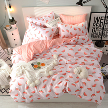 Pink and white color Watermelon printing bedding set kids home textile sweet girl princess cute queen bed