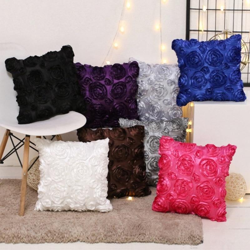 3D Rose Embroidered Pillow Case Cover Sofa Waist Throw Cushion Car Home Decor