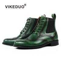 VIKEDUO/зеленый патина на шнуровке полный Броги из натуральной коровьей кожи по индивидуальному заказу обувь ручной работы свадебные офисные