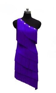 Image 2 - Женское платье для латиноамериканских соревнований, танцевальное платье с одним открытым плечом в европейском стиле, юбка с бахромой для латиноамериканских соревнований, новинка 2021