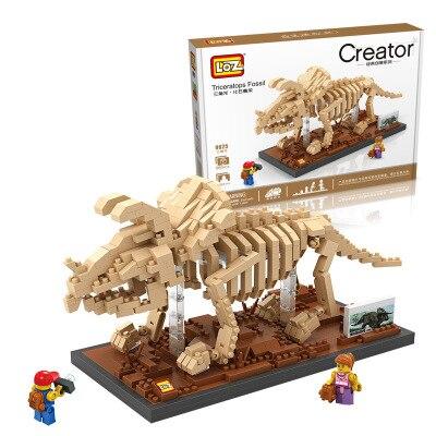 Smart Dinosaur Fossil Triceratops Skull Jurassic World Skeleton Building Block Building Block For Kid Compatible Legoing Model Building