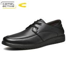 1ad9b9b69 Sapatas Dos Homens Ativos camelo Novos Homens Se Vestem Sapatos de Couro  Genuíno Lace-Up