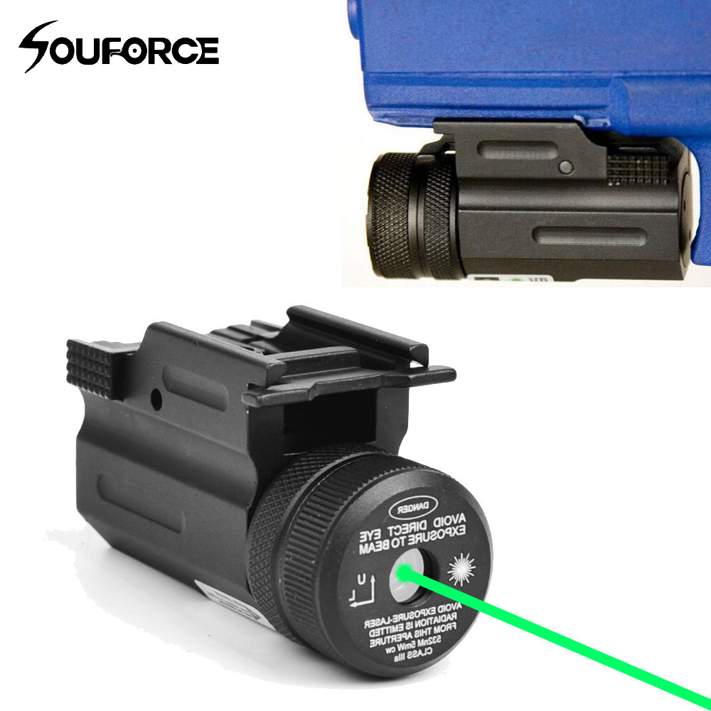 Мощность Зеленая точка лазерный прицел коллиматор QD 20 мм рейку для пистолета и страйкбол Glock 17 19 22