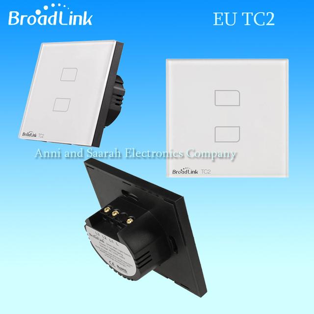 Broadlink interruptor tc2, estándar de la ue 2 gang táctil de cristal panel de pared de luz interruptor de control remoto inalámbrico inteligente wifi, casa inteligente