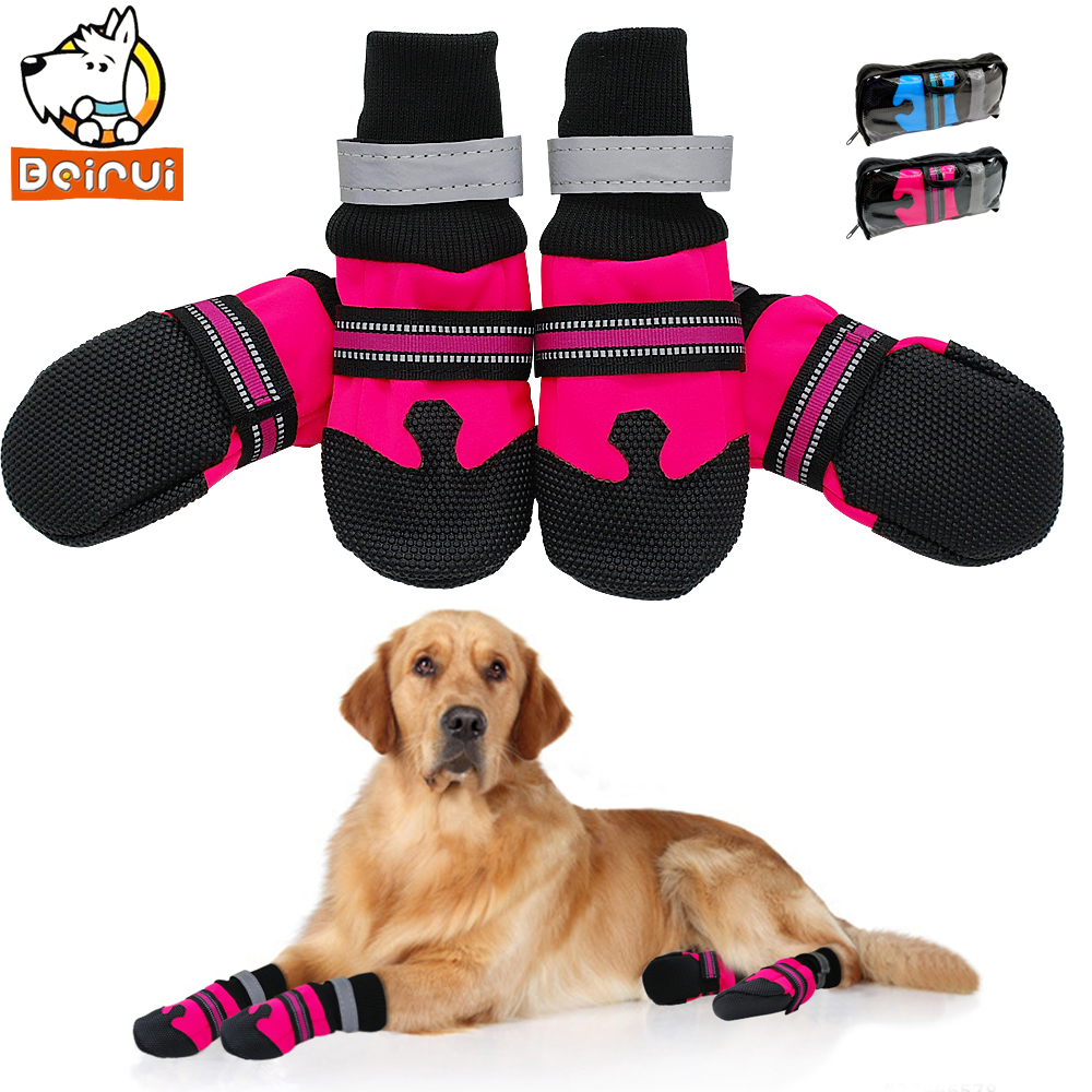 4pcs No-Slip Dog Shoes Rain Wear Waterproof Reflective Boots Paw Protector Outdoor Sock for Medium Large Dogs Rose Blue