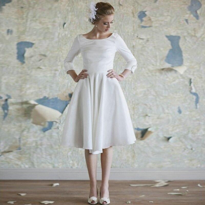 Vestido De Noiva Curto 2017 White Short Wedding Dress with Button ...