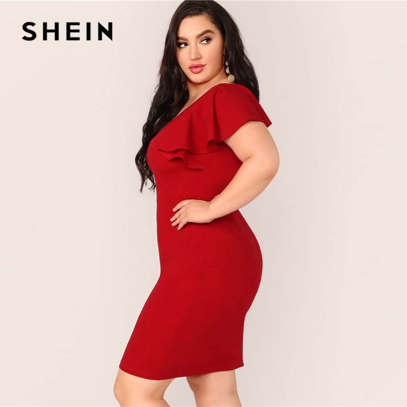SHEIN Plus Size Red Zip Back Ruffle Trim Bodycon Dress 2019 Women Summer Elegant Butterfly Sleeve Slim Pencil V neck Plus Dress 2