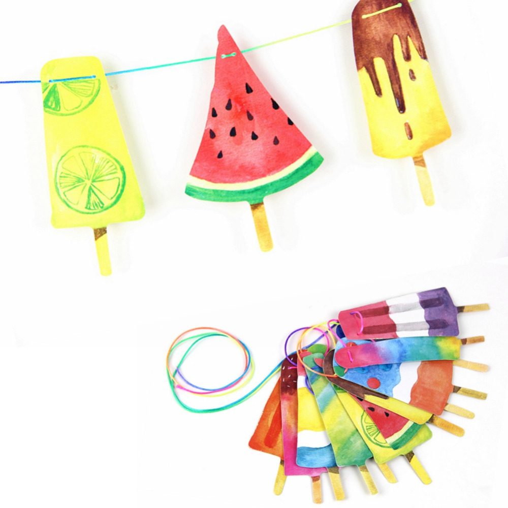 Håndmalte Fargerike Popsicle Banner Tilbake til skole / Sommerfest Ice Cream Bar Ice Pop Garland Kids Birthday Party Decorations