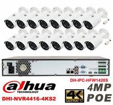 Dahua original 16CH 4MP H2.64 DHI-IPC-HFW1420S 16pcs bullet Waterproof camera POE DAHUA DHI-NVR4416-4KS2 IP security camera kit