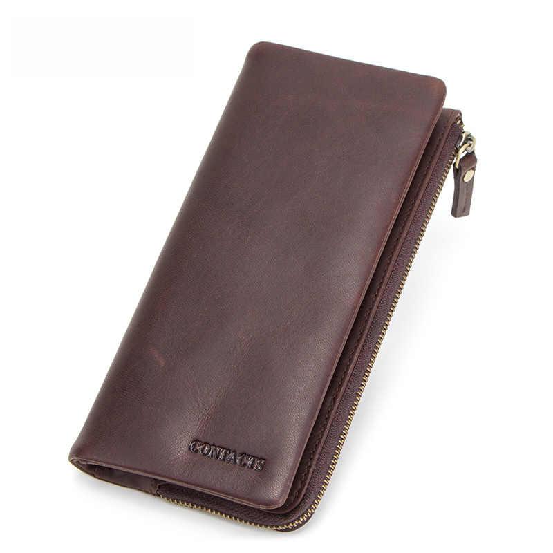 CONTACT'S Мужской кошелек из натуральной кожи с отделениями для телефона, карт и денег, в винтажном стиле мужские длинные кошельк 2019