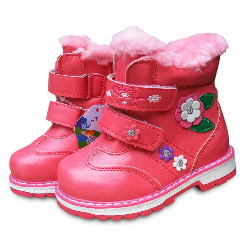 Super quality 1pair Winter warm BRAND Snow Boots  cotton-padded Children Boot  Russia  Kids PU Leather Baby Boy Shoes title=