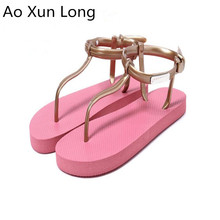 Ao Xun Long Summer Fashion Women Flip flops Beach Bathing Women Sandals Flat Pink Size 35-39 sandalias mujer