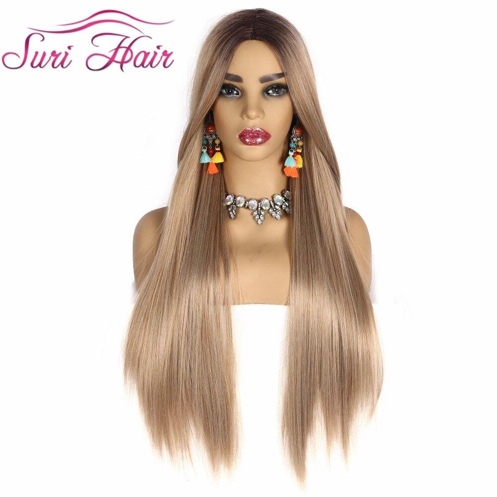 Suri Reta Longa peruca de Cabelo Loiro Dourado Ombre raiz Preta Perucas Sintéticas para As Mulheres Cosplay Resistente Ao Calor do cabelo navio livre 30