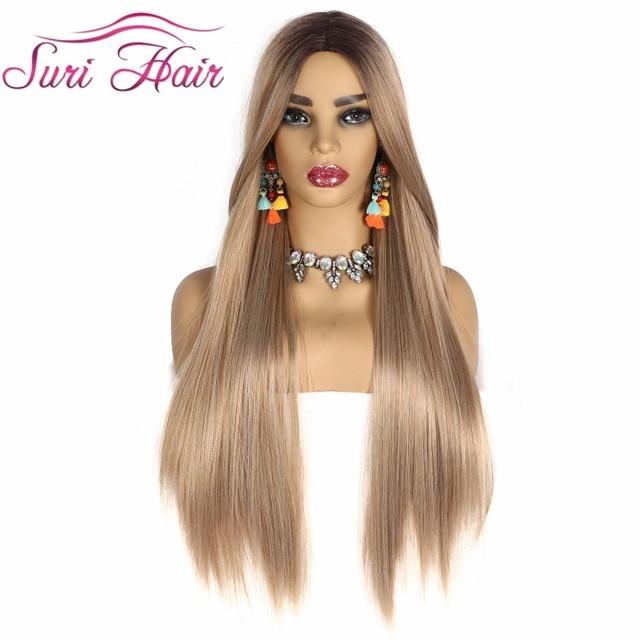 "Suri peluca larga recta pelo rubio dorado Ombre negro raíz pelucas sintéticas para mujeres Cosplay pelo envío gratis resistente al calor 30"""