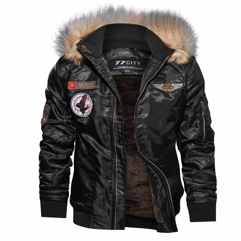77City Killer Thicken chaqueta militar de invierno para hombre Casual de manga larga sólido con capucha cremallera parka Air Force Flight Jacket Tactical