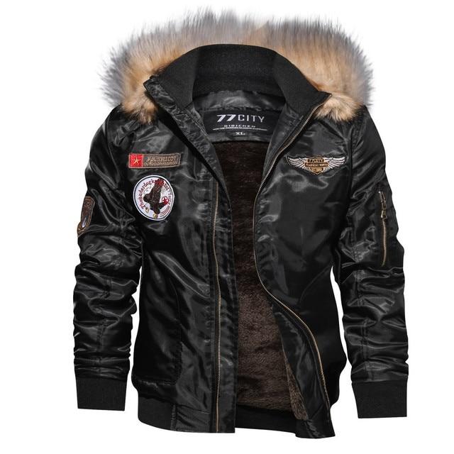 Brand Jacket Men Windbreaker 2018 Jackets Male Coat Autumn Winter Casual Long Sleeve Solid Fur Hooded Zipper jacket Top