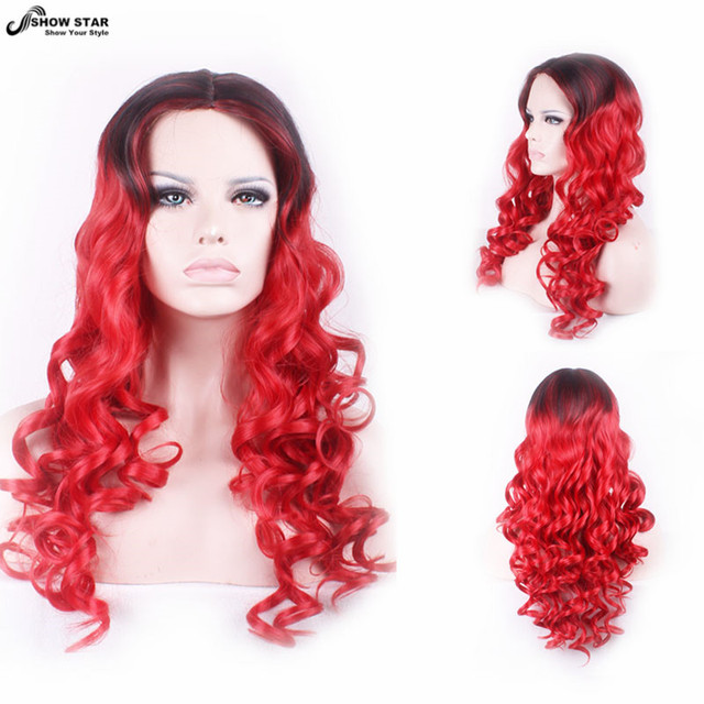 Cheap Heat Resistant Black Red Ombre Wig Long Wavy Curly Wig Anime Cosplay Wigs Perruque Synthetic Women Halloween Costumes Wig