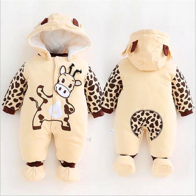 Terno do bebê Inverno de algodão engrossado, pano do bebê infantil macacão Footies quente bebê sair LM120