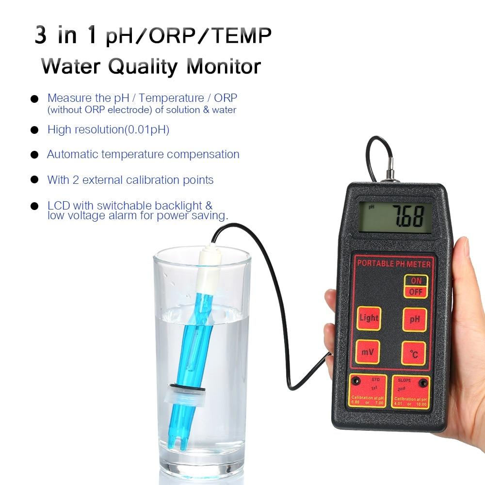 Portable pH/ORP/TEMP Meter Water Detector Multi-parameter Digital LCD Water Quality Monitor Professional Water Quality TesterPortable pH/ORP/TEMP Meter Water Detector Multi-parameter Digital LCD Water Quality Monitor Professional Water Quality Tester