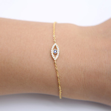 real 925 sterling silver black friday turkish evil eye micro pave cz gold thin adjustable Link Chain charm Bracelets for women(China)