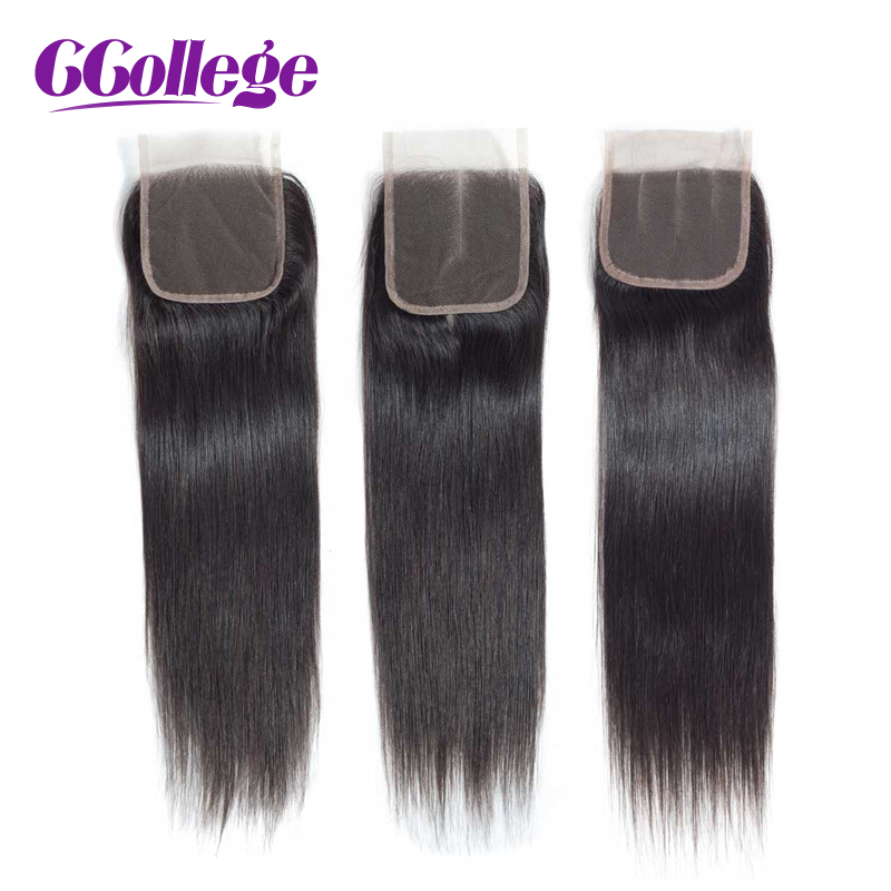 4*4 Top Lace Closure  Free/Middle/Three Part Peruvian Human Hair Straight Non-Remy Tissage Cheveux Humain Avec Closure Solde