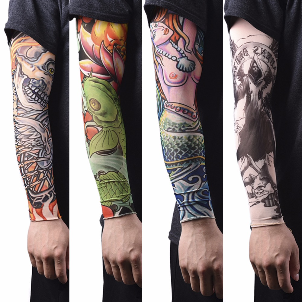 1Pc  New Arrival Nylon Tatoo Arm Stockings Arm Warmer Cover Elastic Fake Temporary Tattoo Sleeves For Men Women