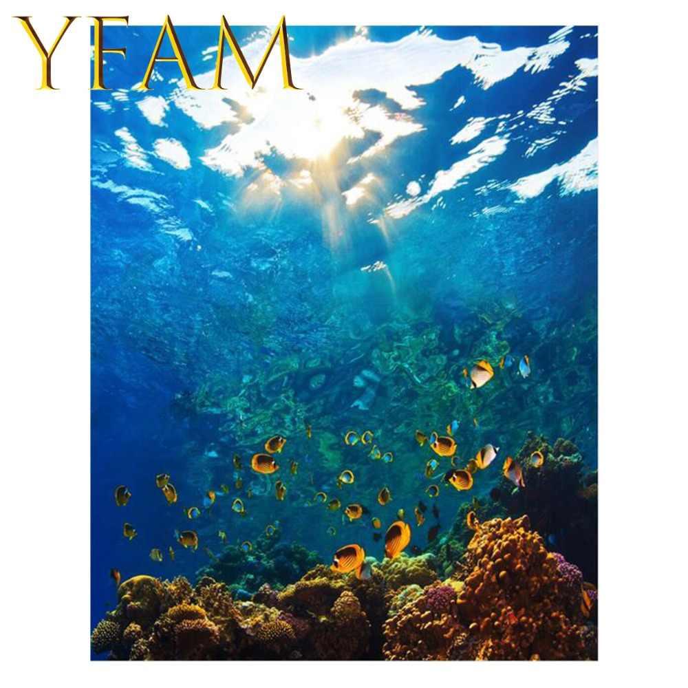 Картина подводного мира по номерам DIY Ручная Краска акриловый рисунок на льняном