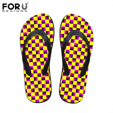 FORUDESIGNS 3D Plaid Design Classic Slippers 2017 Summer Women Beach Casual Flip Flops Comfortable Ladies Female Rubber Shoes