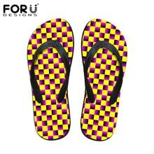 FORUDESIGNS 3D Plaid Design Classic Slippers 2017 Summer Women Beach Casual Flip Flops Comfortable Ladies Female Rubber Shoes