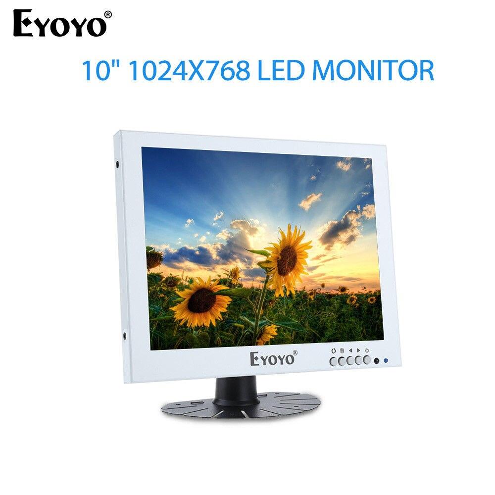 EYOYO 10 1024X768 LED Monitor Video Audio Input Built-in Dual Loudspeakers With BNC VGA AV 300cd/m2 White For CCTV DVD DVR PC