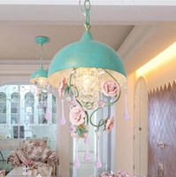 Средиземноморский синяя полоса кованого железа лампы Обеденный стол ресторан одной головы люстры цветок огни освещения лестницы растений