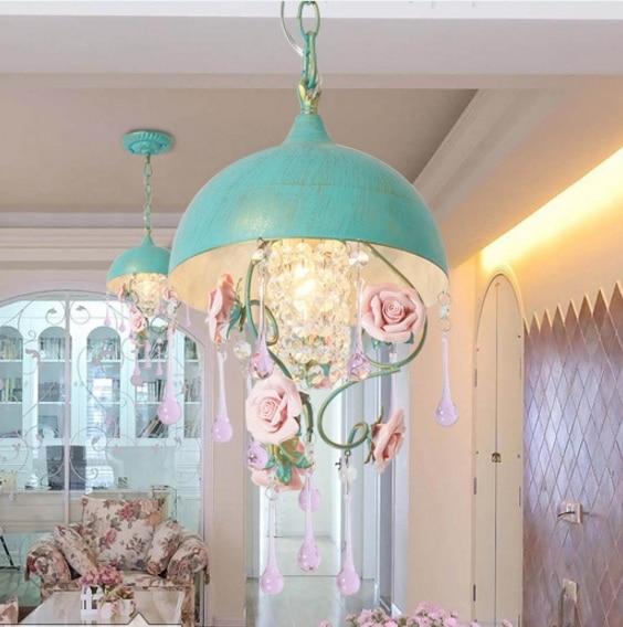 Mediterranean blue bar wrought iron lamps dining table restaurant single head chandeliers flower lights stair lighting plants