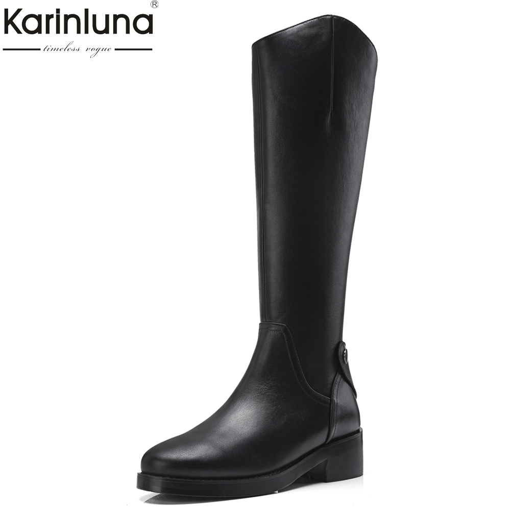 KarinLuna 2018 Genuine Leather Platform Chunky Heels Knee High Boots Fashion Zip Up Black Women Shoes