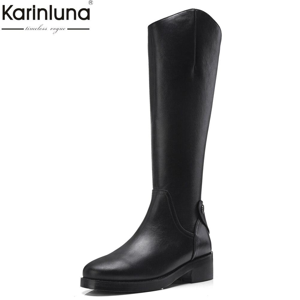 KarinLuna 2018 Véritable Plate-Forme En Cuir Chunky Talons Genou Haute Bottes De Mode Zip Up Noir Femmes Chaussures Femme Bottes D'équitation