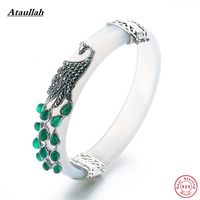 Ataullah Vintage Thai Silver 925 Sterling Silver Bangles for Women Natural Jade Bangles Sterling Silver Fine Jewelry SBG008