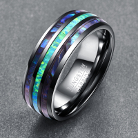 8MM Width Elegant Smooth Inlay Abalone Shell +Opal+Abalone Shell Tungsten Steel Rings for Men Top Grade Mens Ring