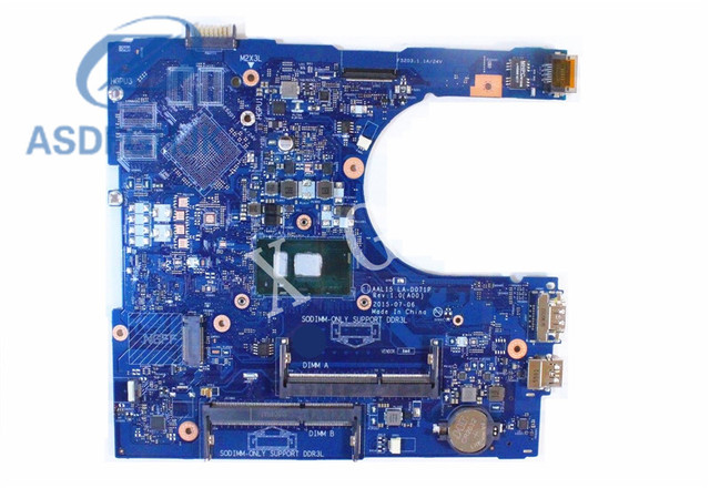 Carte Mère dordinateur portable AAL15 LA-D071P pour Dell Inspiron 5559 Carte Mère RV4XN 0RV4XN CN-0RV4XN i7-6500U DDR3L 100% Test OK