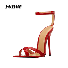 Women High-Heeled Sandals The Show  Big And Sexy Strap For Summer Parties Black White Red Wedding Shoes Size 40-49