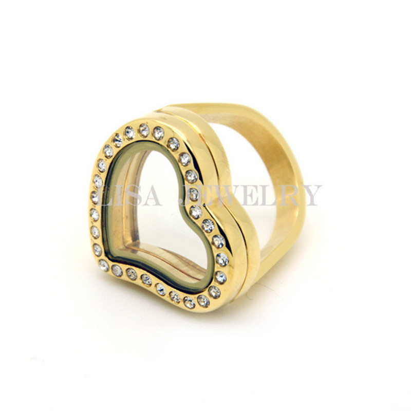 Fashion Women Gold 20mm 316l Stainless Steel Heart Crystal Magnetic Photo Floating Locket Rings