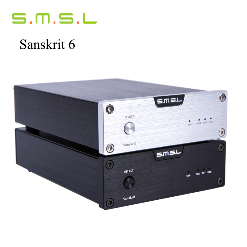 SMSL Latest 6th Sanskrit USB DAC 32BIT/192Khz Coaxial SPDIF Optical Hifi Audio Amplifier Decoder New Version With Power Adapter hi fi cm6631a 192khz to coaxial optical spdif convertor dac board 24bit usb 2 0